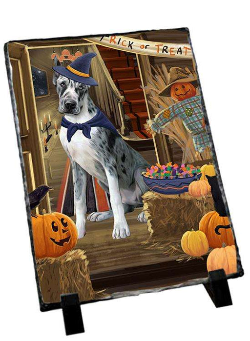 Enter at Own Risk Trick or Treat Halloween Great Dane Dog Photo Slate SLT53139
