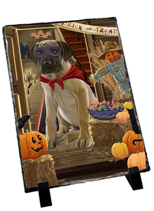 Enter at Own Risk Trick or Treat Halloween Great Dane Dog Photo Slate SLT53140