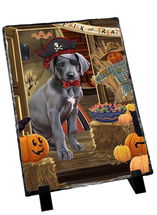 Enter at Own Risk Trick or Treat Halloween Great Dane Dog Photo Slate SLT53141