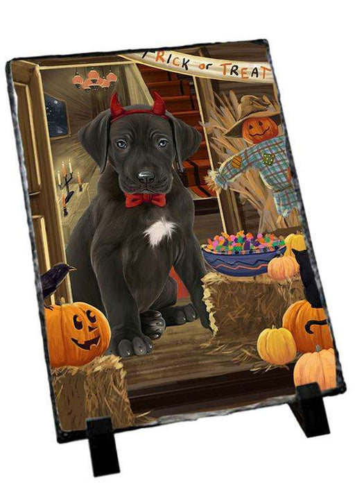 Enter at Own Risk Trick or Treat Halloween Great Dane Dog Photo Slate SLT53142