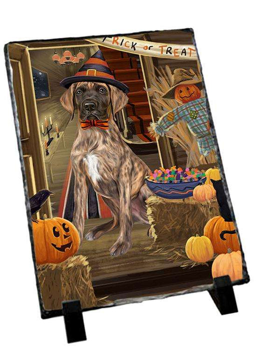 Enter at Own Risk Trick or Treat Halloween Great Dane Dog Photo Slate SLT53143