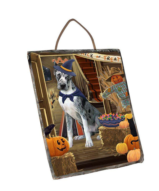 Enter at Own Risk Trick or Treat Halloween Great Dane Dog Wall Décor Hanging Photo Slate SLTH53139
