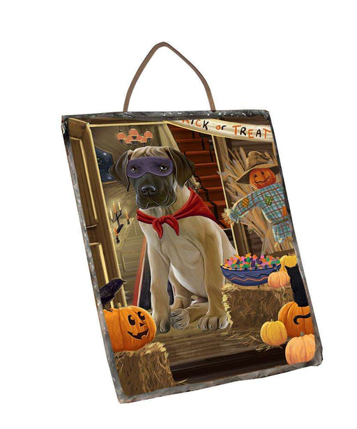 Enter at Own Risk Trick or Treat Halloween Great Dane Dog Wall Décor Hanging Photo Slate SLTH53140