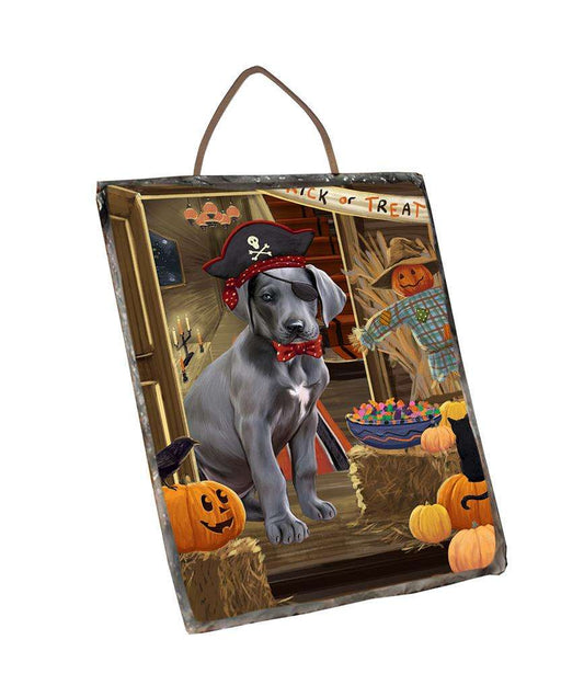 Enter at Own Risk Trick or Treat Halloween Great Dane Dog Wall Décor Hanging Photo Slate SLTH53141