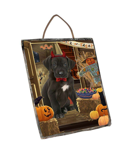 Enter at Own Risk Trick or Treat Halloween Great Dane Dog Wall Décor Hanging Photo Slate SLTH53142