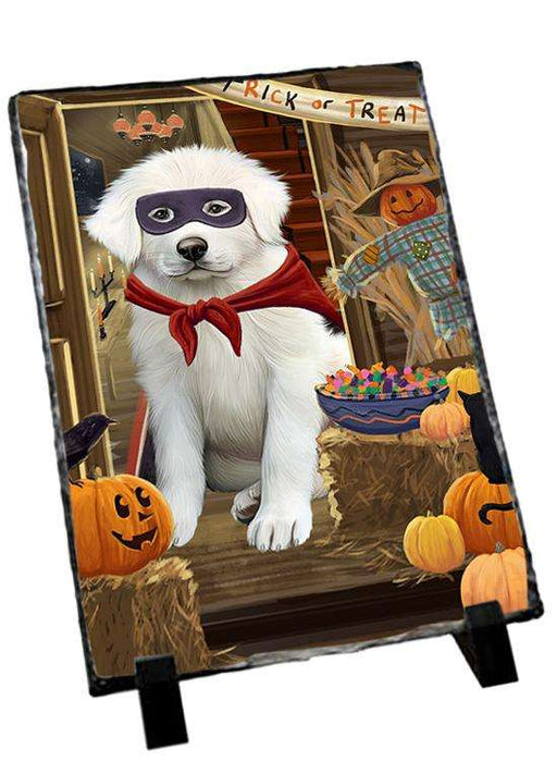 Enter at Own Risk Trick or Treat Halloween Great Pyrenee Dog Photo Slate SLT53145