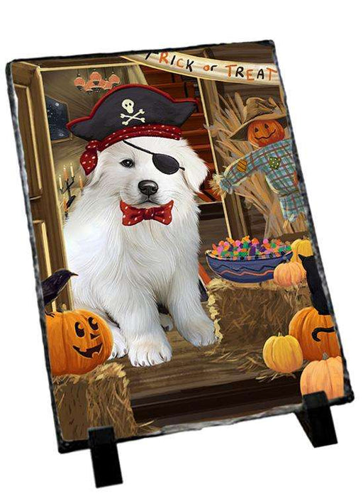 Enter at Own Risk Trick or Treat Halloween Great Pyrenee Dog Photo Slate SLT53146