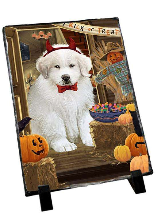 Enter at Own Risk Trick or Treat Halloween Great Pyrenee Dog Photo Slate SLT53147