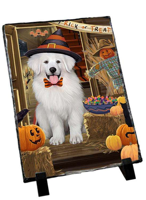 Enter at Own Risk Trick or Treat Halloween Great Pyrenee Dog Photo Slate SLT53148