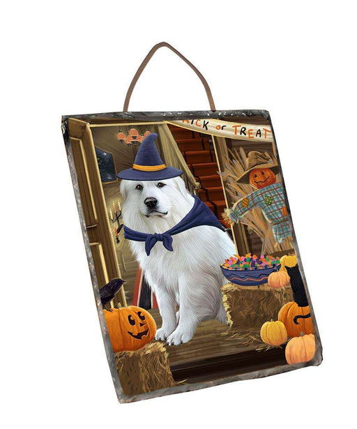 Enter at Own Risk Trick or Treat Halloween Great Pyrenee Dog Wall Décor Hanging Photo Slate SLTH53144