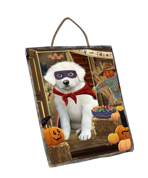 Enter at Own Risk Trick or Treat Halloween Great Pyrenee Dog Wall Décor Hanging Photo Slate SLTH53145