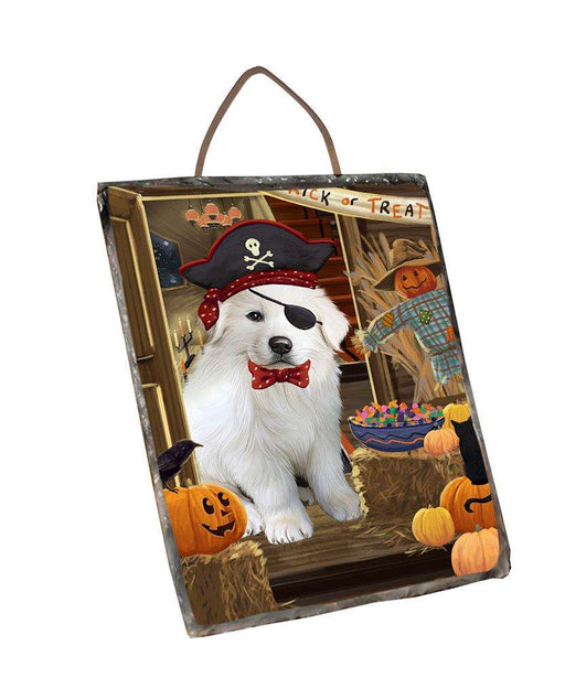 Enter at Own Risk Trick or Treat Halloween Great Pyrenee Dog Wall Décor Hanging Photo Slate SLTH53146