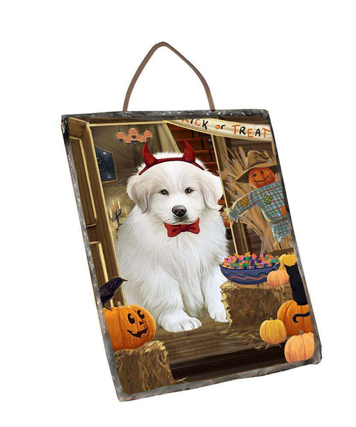 Enter at Own Risk Trick or Treat Halloween Great Pyrenee Dog Wall Décor Hanging Photo Slate SLTH53147