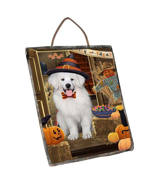 Enter at Own Risk Trick or Treat Halloween Great Pyrenee Dog Wall Décor Hanging Photo Slate SLTH53148