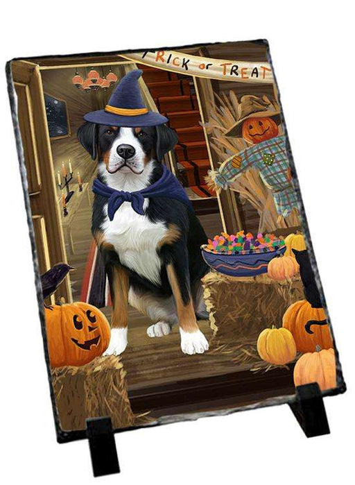 Enter at Own Risk Trick or Treat Halloween Greater Swiss Mountain Dog Photo Slate SLT53149
