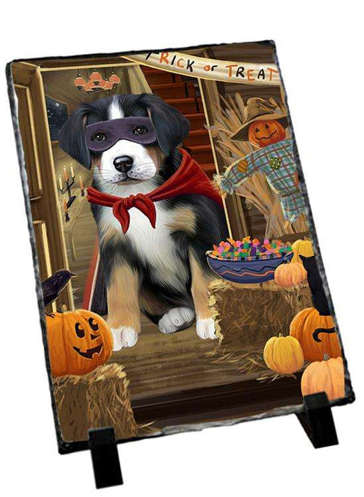 Enter at Own Risk Trick or Treat Halloween Greater Swiss Mountain Dog Photo Slate SLT53150