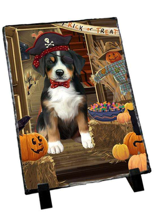 Enter at Own Risk Trick or Treat Halloween Greater Swiss Mountain Dog Photo Slate SLT53151