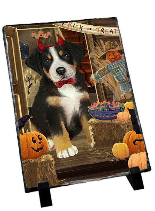 Enter at Own Risk Trick or Treat Halloween Greater Swiss Mountain Dog Photo Slate SLT53152