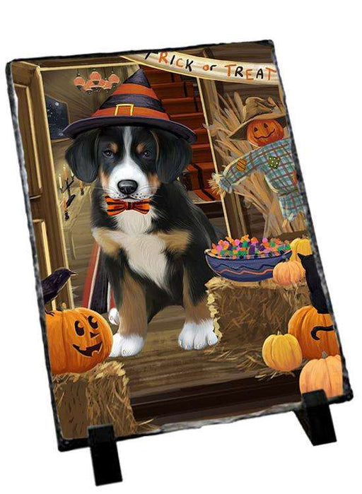 Enter at Own Risk Trick or Treat Halloween Greater Swiss Mountain Dog Photo Slate SLT53153