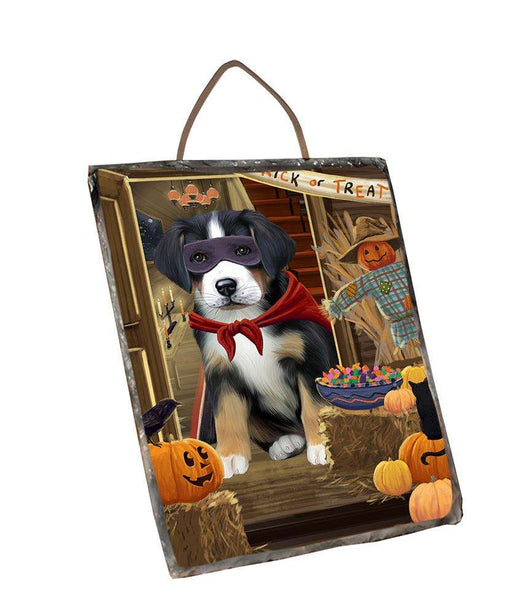 Enter at Own Risk Trick or Treat Halloween Greater Swiss Mountain Dog Wall Décor Hanging Photo Slate SLTH53150