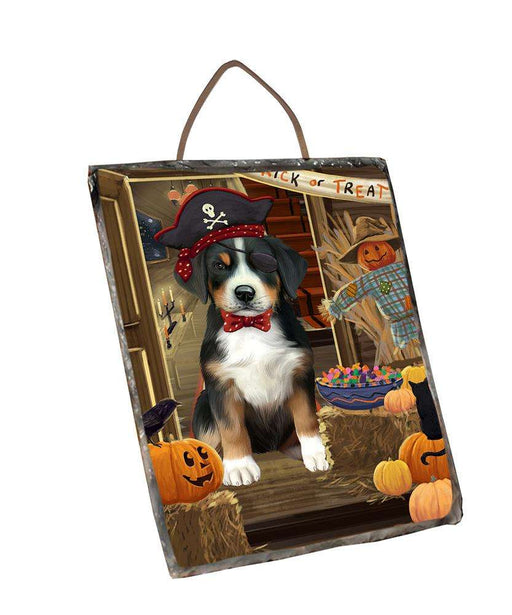 Enter at Own Risk Trick or Treat Halloween Greater Swiss Mountain Dog Wall Décor Hanging Photo Slate SLTH53151