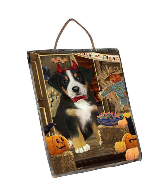 Enter at Own Risk Trick or Treat Halloween Greater Swiss Mountain Dog Wall Décor Hanging Photo Slate SLTH53152