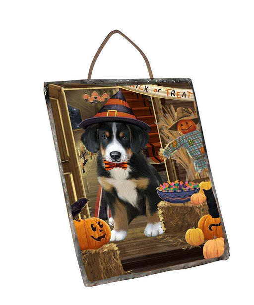 Enter at Own Risk Trick or Treat Halloween Greater Swiss Mountain Dog Wall Décor Hanging Photo Slate SLTH53153