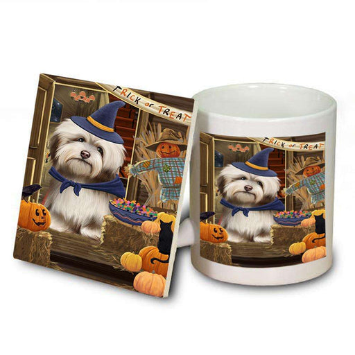 Enter at Own Risk Trick or Treat Halloween Havanese Dog Mug and Coaster Set MUC53146