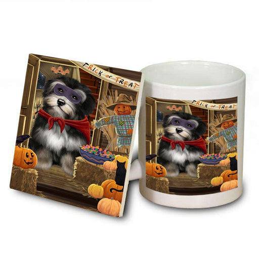 Enter at Own Risk Trick or Treat Halloween Havanese Dog Mug and Coaster Set MUC53147