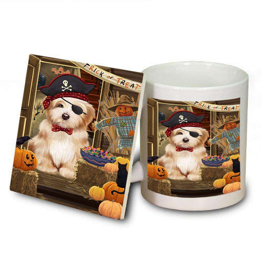 Enter at Own Risk Trick or Treat Halloween Havanese Dog Mug and Coaster Set MUC53148