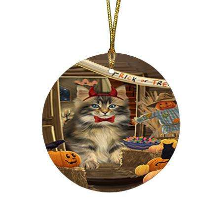 Enter at Own Risk Trick or Treat Halloween Maine Coon Cat Round Flat Christmas Ornament RFPOR53178