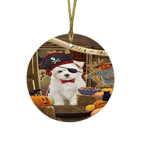 Enter at Own Risk Trick or Treat Halloween Maltese Dog Round Flat Christmas Ornament RFPOR53182