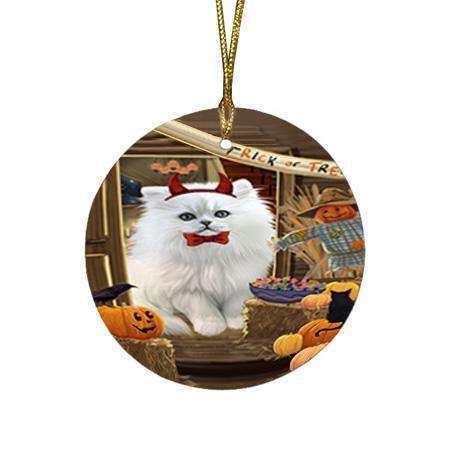 Enter at Own Risk Trick or Treat Halloween Persian Cat Round Flat Christmas Ornament RFPOR53203
