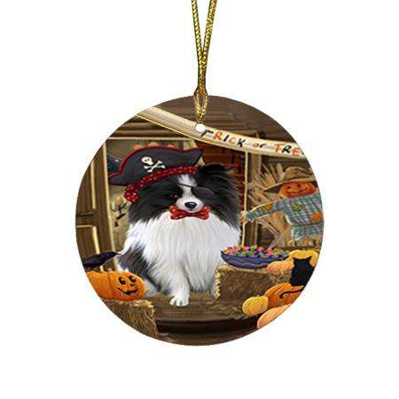 Enter at Own Risk Trick or Treat Halloween Pomeranian Dog Round Flat Christmas Ornament RFPOR53212