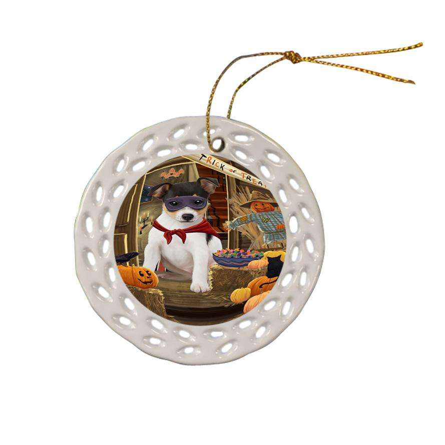 Enter at Own Risk Trick or Treat Halloween Rat Terrier Dog Ceramic Doily Ornament DPOR53235