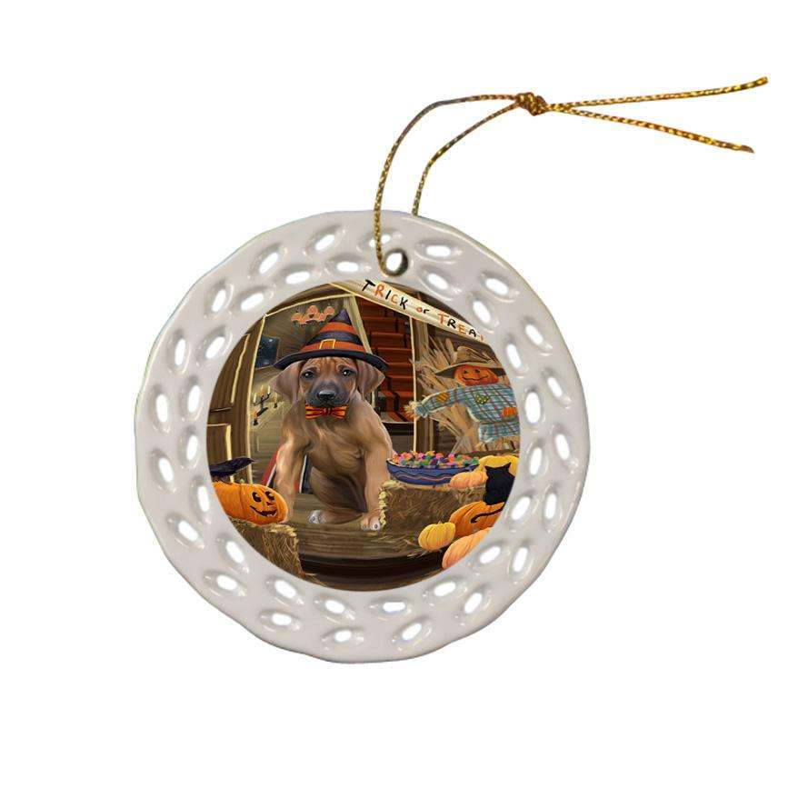 Enter at Own Risk Trick or Treat Halloween Rhodesian Ridgeback Dog Ceramic Doily Ornament DPOR53243