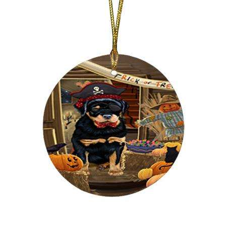 Enter at Own Risk Trick or Treat Halloween Rottweiler Dog Round Flat Christmas Ornament RFPOR53237