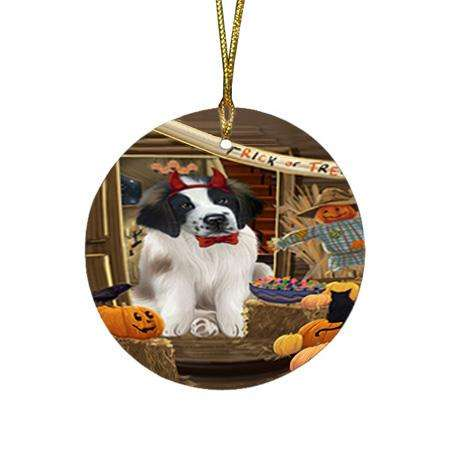 Enter at Own Risk Trick or Treat Halloween Saint Bernard Dog Round Flat Christmas Ornament RFPOR53248