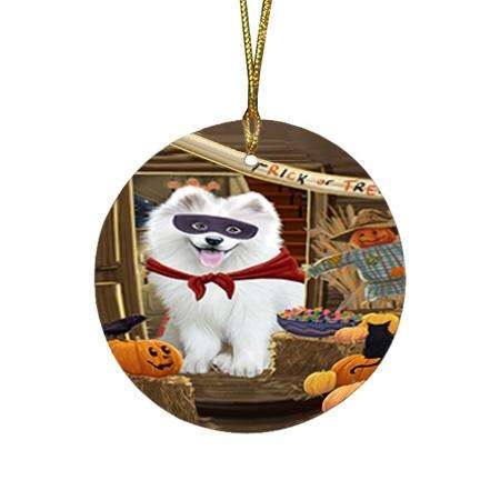 Enter at Own Risk Trick or Treat Halloween Samoyed Dog Round Flat Christmas Ornament RFPOR53251