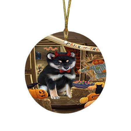 Enter at Own Risk Trick or Treat Halloween Shiba Inu Dog Round Flat Christmas Ornament RFPOR53278