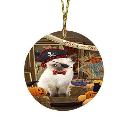 Enter at Own Risk Trick or Treat Halloween Siamese Cat Dog Round Flat Christmas Ornament RFPOR53287