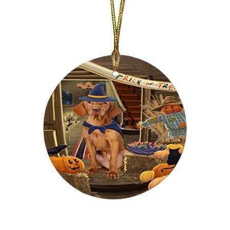 Enter at Own Risk Trick or Treat Halloween Vizsla Dog Round Flat Christmas Ornament RFPOR53315