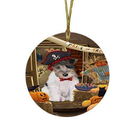 Enter at Own Risk Trick or Treat Halloween Wire Fox Terrier Dog Round Flat Christmas Ornament RFPOR53337