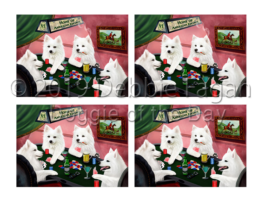 Home of  American Eskimo Dogs Playing Poker Placemat