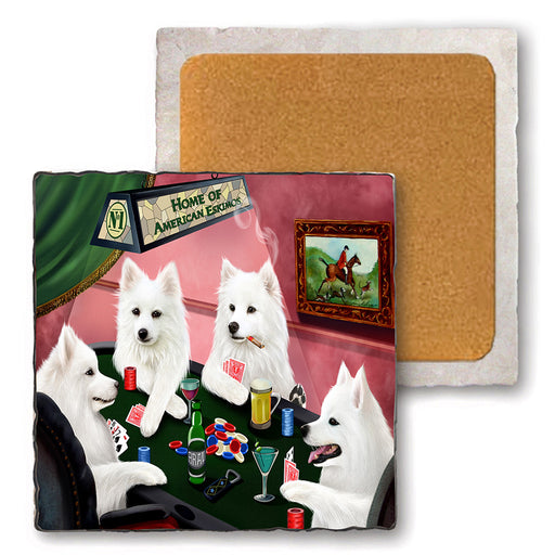 Set of 4 Natural Stone Marble Tile Coasters - Home of American Eskimo 4 Dogs Playing Poker MCST48022