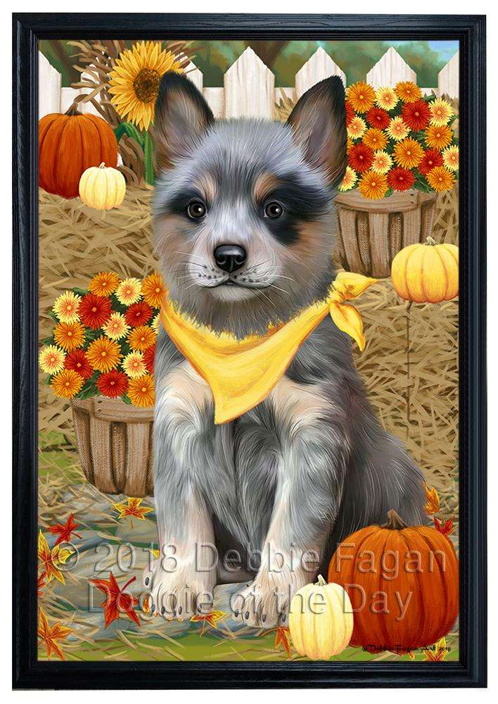 Fall Autumn Greeting Blue Heeler Dog with Pumpkins Framed Canvas Print Wall Art FCVS121355