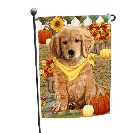 Fall Autumn Greeting Golden Retriever Dog with Pumpkins Garden Flag GFLG0637