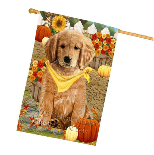 Fall Autumn Greeting Golden Retriever Dog with Pumpkins House Flag FLG50773