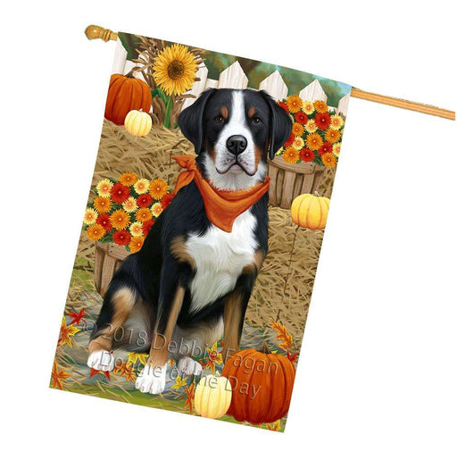 Fall Autumn Greeting Greater Swiss Mountain Dog with Pumpkins House Flag FLG52413