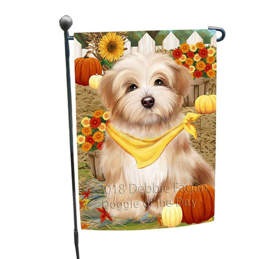 Fall Autumn Greeting Havanese Dog with Pumpkins Garden Flag GFLG0644